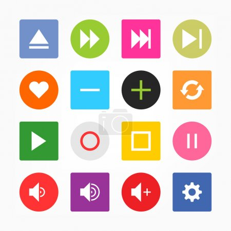 Media player control button ui icon set. Simple rounded square sticker internet sign gray background. Solid plain mono one-color flat tile. Newest style. Vector illustration web design elements 8 eps