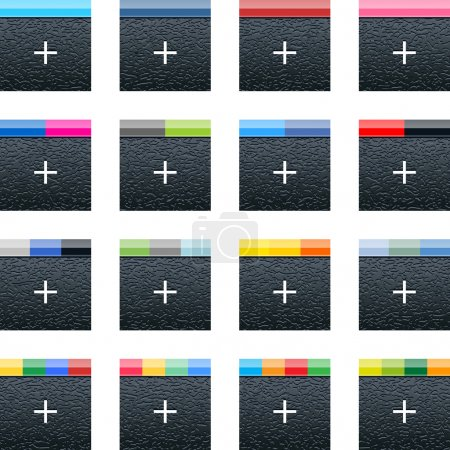Simple social networks icon with plus sign. Black square shape internet button with plastic texture and popular colors striped lines on white background. Vector illustration web design elements 10 eps