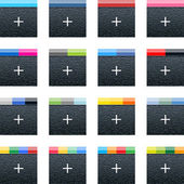 Simple social networks icon with plus sign Black square shape internet button with plastic texture and popular colors striped lines on white background Vector illustration web design elements 10 eps