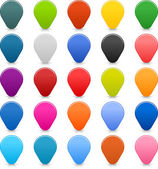 25 location mapping pins sign web map icon Blank buttons painted in popular colors