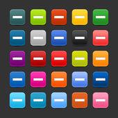 25 tlačítko hladké satined web 2.0 s Nezadávejte symbol. barevné zaoblené hranatých tvarů s černým stínem na šedém pozadí. Tato vektorové ilustrace uložené v 8 eps