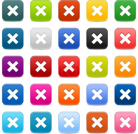25 smooth satined web 2.0 button with delete sign. Colored rounded square shapes with gray shadow on white background. This vector illustration saved in 8 eps