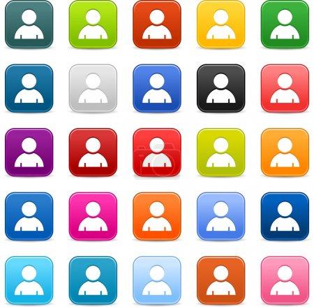 Illustration pour Bouton web 2.0 satiné lisse 25 avec panneau de profil utilisateur. Formes carrées arrondies colorées avec ombre grise sur fond blanc. Cette illustration vectorielle enregistrée en 8 eps - image libre de droit