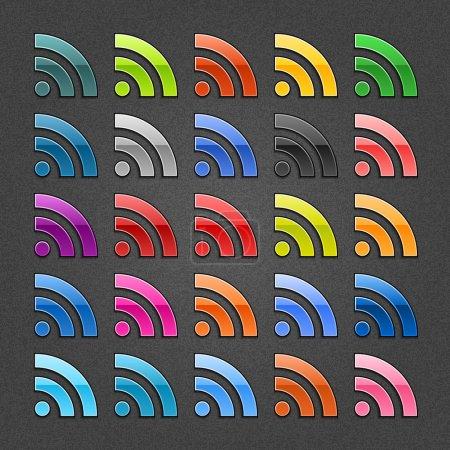 Ilustración de 25 rss firma botón web brillante. forma de color blanco con sombra negra sobre fondo gris oscuro con efecto ruido. Vector ilustración eps 10. - Imagen libre de derechos