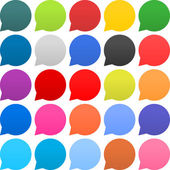 25 speech bubble sign web icon Empty buttons painted in popular colors Circle shape on white background Newest contemporary simple style This vector illustration internet design element in 8 eps