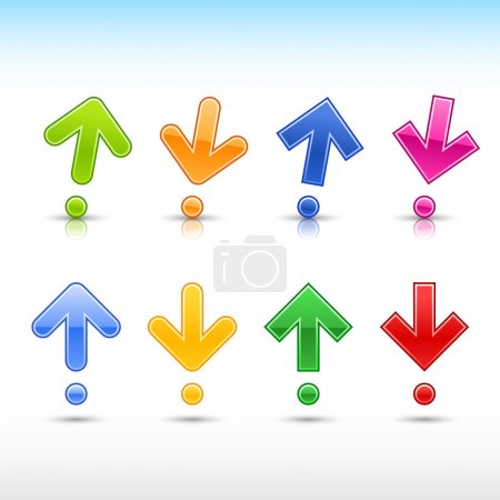 Colored arrow sign in form of exclamation mark symbol. Glossy and satined shapes with gray drop reflection on white background. Vector illustration 10 eps.