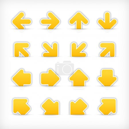 Yellow sign arrow sticker on cut paper pocket