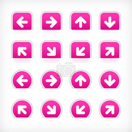 Magenta sign arrow sticker on cut paper pocket