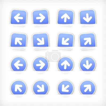 Blue sign arrow sticker on cut paper pocket