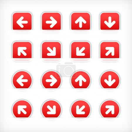 Red sign arrow sticker on cut paper pocket