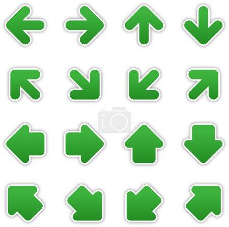 Dark green arrow sign sticker web button