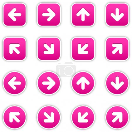 Magenta stickers with arrow sign. Circles and roun...