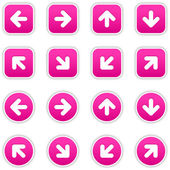 Magenta stickers with arrow sign