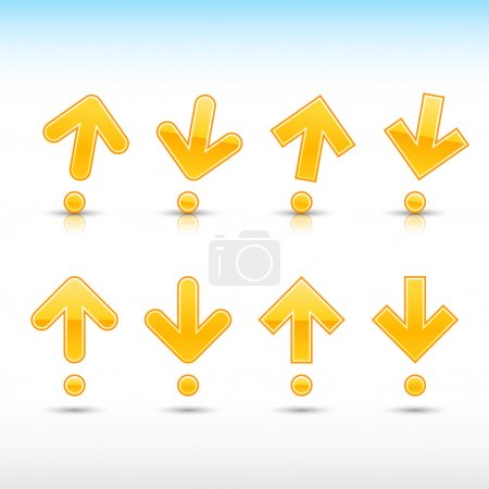 Yellow arrow sign in form of exclamation mark. Glossy and satined shapes with reflection on white background. Vector illustration saved in 10 eps.