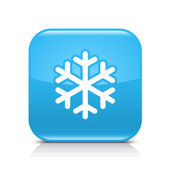 Blue glossy web button with low temperature sign snowflake symbol Rounded square shape icon with black shadow and gray reflection on white background This vector illustration saved in 8 eps