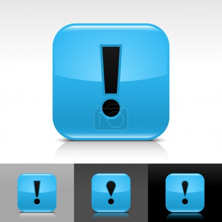 Blue glossy web button with black exclamation mark sign