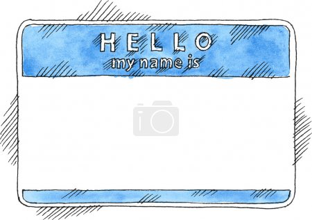 Blue name tag sticker HELLO my name is on white background. Blank badge painted handmade draw ink sketch and watercolor technique. This vector illustration clip-art element for design saved in 10 eps