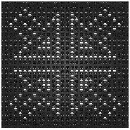 4 chrome arrow symbol on metal seamless pattern. Dark gray dot perforated texture background. This vector illustration saved in format 10 eps