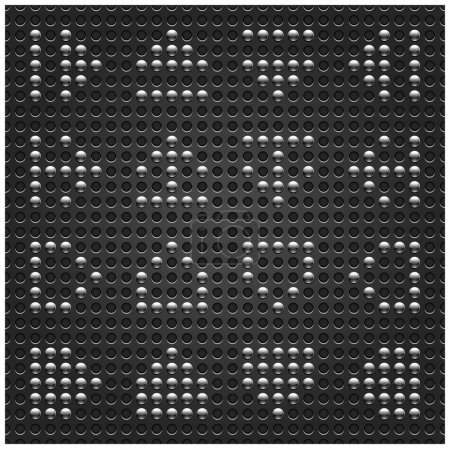 Chrome metal arrow sign on dotted perforated texture black background. This vector illustration file saved in format 10 eps