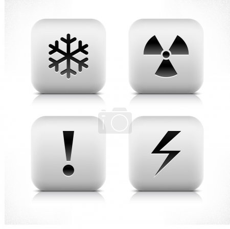 Stone web 2.0 button with extreme cold, radiation, exclamation mark, high voltage sign. White rounded square shape with black shadow and gray reflection on white background. Vector illustration 8 eps