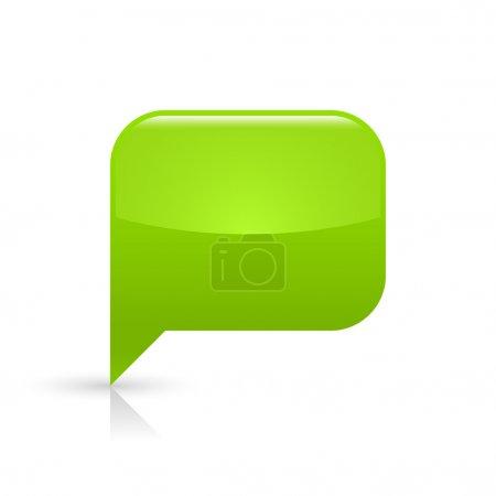 Ilustración de Icono verde vidrioso discurso vacío burbuja web botón. redondea la forma del rectángulo con sombra negra y gris reflexión sobre fondo blanco. - Imagen libre de derechos