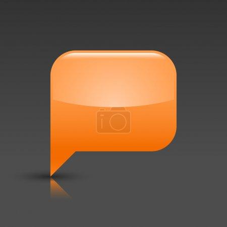 Orange glossy blank speech bubble icon web button
