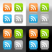Color glossy web internet button with RSS feed sign Rounded square icon with shadow and reflection on four background This vector saved in 8 eps Do not contain effects and transparency