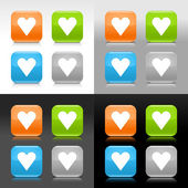 Color glossy web internet button with heart sign Rounded square icon with shadow and reflection on four background This vector saved in 8 eps Do not contain effects and transparency