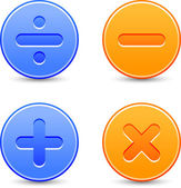 Satin calculator icons Orange and blue web buttons with shadow on white background Division minus plus multiplication signs for internet Vector illustration clip-art design elements saved 8 eps