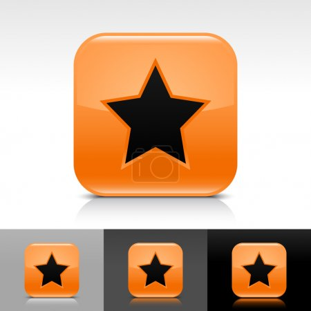 Orange glossy web button with black star sign. Rounded square shape icon with shadow and reflection on white, gray, and black background. Vector 8 eps.