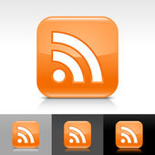 Orange glossy web button with white RSS sign Rounded square shape icon with reflection and shadow on white gray black background Vector illustration design elements in 8 eps