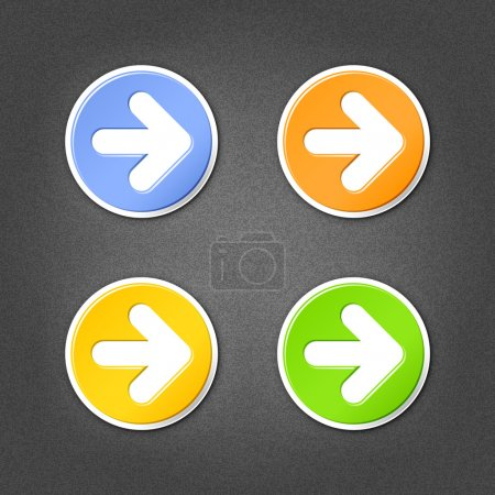 4 colored arrow sign circle stickers. Smooth green, orange, yellow, blue internet web button with drop shadow on gray background with noise effect. This vector illustration element saved in 10 eps