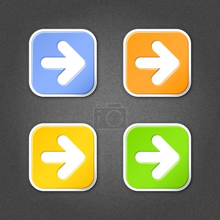 4 colored arrow sign square stickers. Smooth green, orange, yellow, blue internet web button with drop shadow on gray background with noise effect. This vector illustration design element in 10 eps