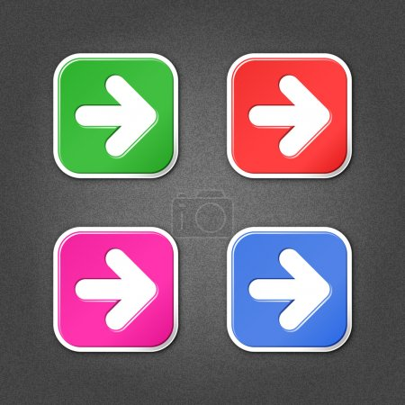 4 colored arrow sign square stickers. Smooth green, red, purple, cobalt internet web button with drop shadow on gray background with noise effect. Vector illustration design element saved in 10 eps