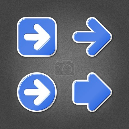 4 blue sticker arrow sign web icon. Smooth interne...