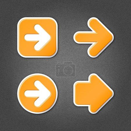 4 orange sticker arrow sign web icon