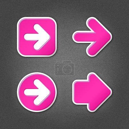 4 magenta sticker arrow sign web icon. Smooth inte...