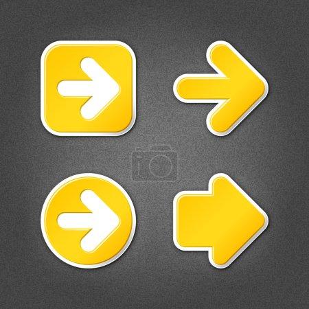 4 yellow sticker arrow sign web icon. Smooth inter...