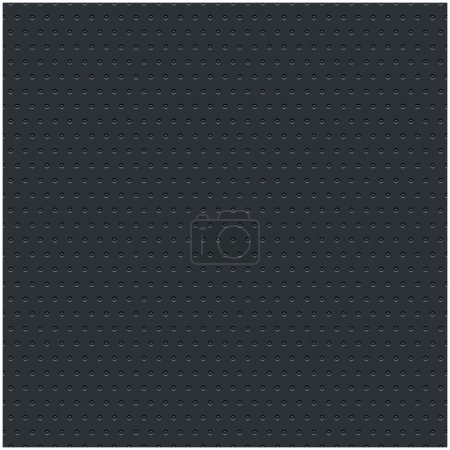 Subtle pattern seamless texture perforated circular hole black metal tile surface dark gray background. Contemporary swatch modern style. This image is a bitmap copy my vector illustration