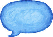 Blue watercolor blank speech bubble dialog empty oval shape on white background This vector illustration clip-art design element saved in 10 eps