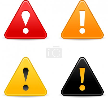 Smooth triangular attention web 2.0 button with exclamation mark and shadow on white.