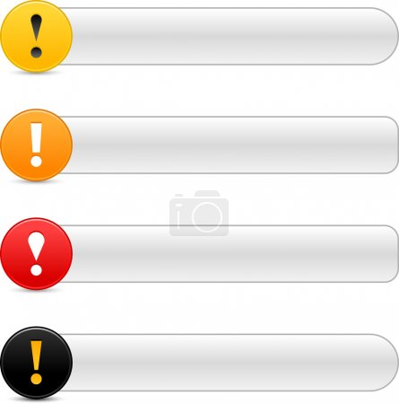 Warning attention sign with exclamation mark symbol. Colored round web 2.0 icon with gray button with shadow on white background