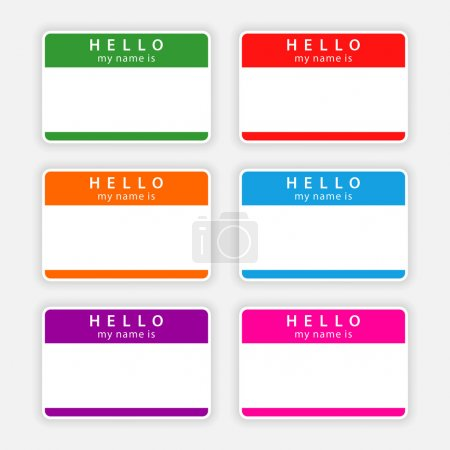 Badge name tag HELLO my name is. Colorful blank label with shadow on gray background