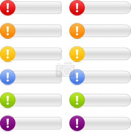 12 colored button attention sign web 2.0 navigation panels with shadow on white