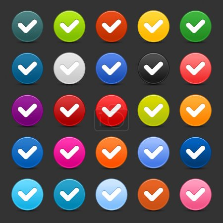 25 satined web 2.0 button with check sign. Colorful round shapes with shadow on gray background