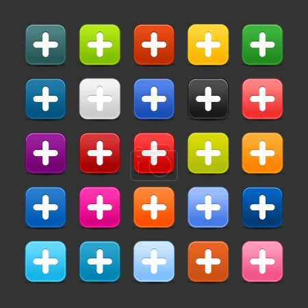 25 smooth satined web 2.0 button with plus sign. Colorful rounded square shapes with shadow on gray background