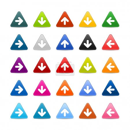 25 triangular web buttons with arrow sign. Colored satin smooth icon with shadow on white