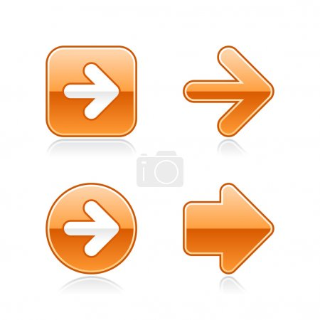 4 glossy arrow sign web 2.0 stickers. Orange button with gray shadow on white. 10 eps