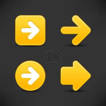 Satin smooth yellow arrow sign web 2.0 buttons wit...