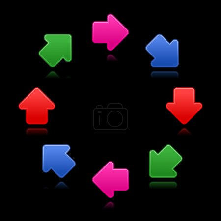Satined arrow sign web 2.0 button. Colored symbol with reflection on black background
